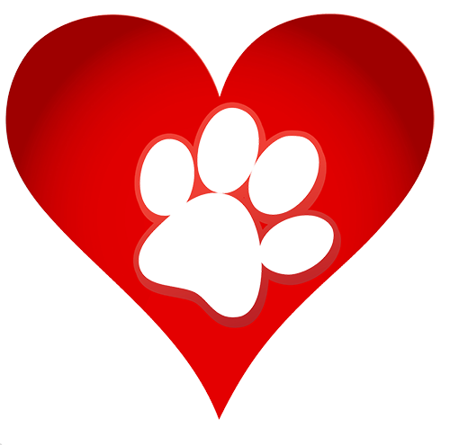 Dog paw in heart